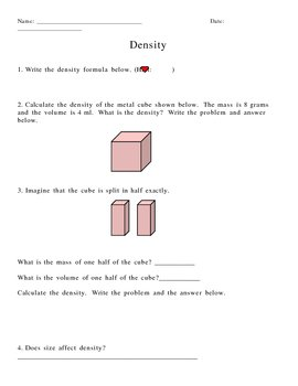 calculating density worksheet take density worksheets with answers ...