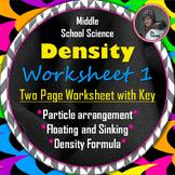 Density Worksheet One: A Science Measurement Resource