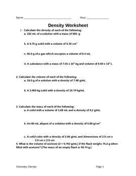 Calculating Density Worksheets | Teachers Pay Teachers