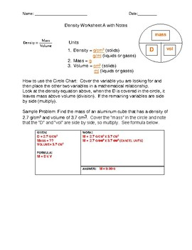 Density Worksheet A with KEY by Need It NOW Science Resources | TpT