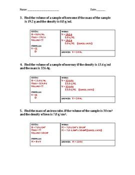 Density Worksheet B with KEY