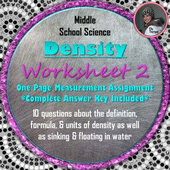 Density Worksheet Two: A Science Measurement Resource