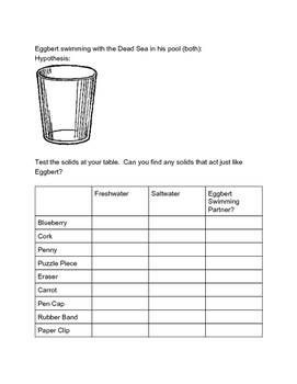 Density Worksheet for Solids, Liquids, and Gases