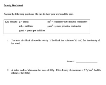 Density Worksheet Teaching Resources | Teachers Pay Teachers