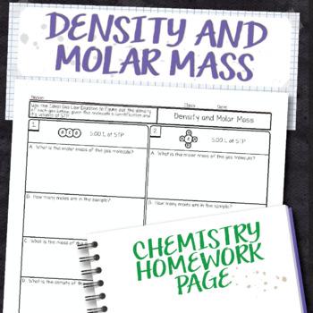 Density and Molar Mass Chemistry Homework Worksheet
