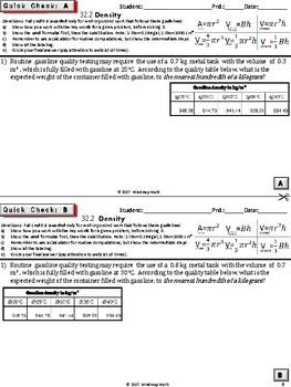 Density, Volume Applications /Real Life Word Problems (HS Geometry Tasks Un.32)