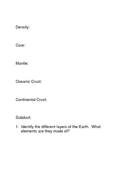 Density and the Layers of the Earth Common Core Activities