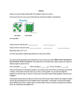 Density handout, examples and worksheet