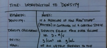 Density mass volume PowerPoint foldable Cornell Notes notebooking jr. high 6 7 8