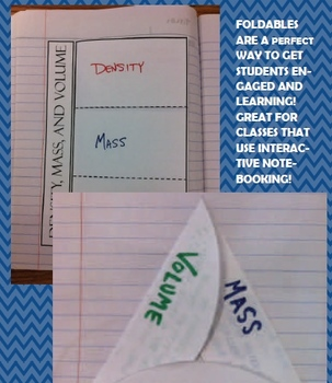 Density mass volume foldables interactive notebooking 4th 5th 6th 7th jr high