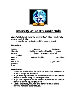 Density of Earth Minerals