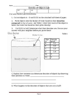 Density of Objects Lab