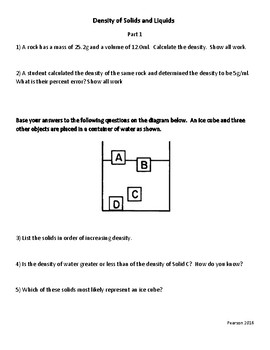 Density of Solids and Liquids Practice Questions