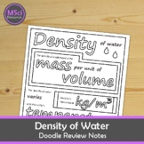 Density of Water Doodle Page Chemistry Guided Notes Test Prep Review