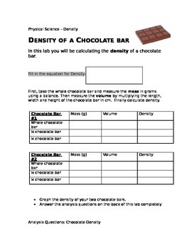 Density of a Chocolate Bar Lab- Physical Science 8th grade