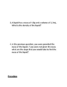 Density of an Unknown Liquid Lab