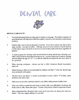 Dental Care Facts Lesson
