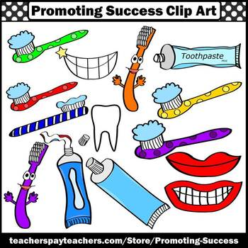 Dental Health Clipart, Toothbrush, Toothpaste, Brushing Teeth SPS