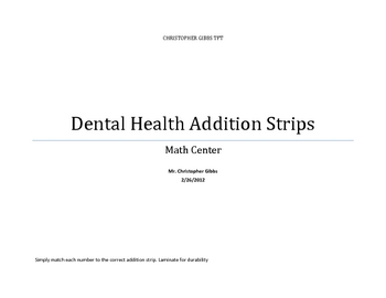 Dental Health Addition Math Center
