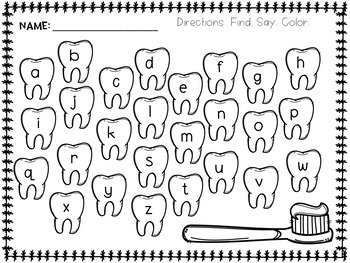 Dental Health Alphabet Cards