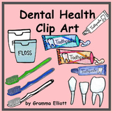 Teeth and Dental Health Clip Art with Toothpaste and Toothbrush