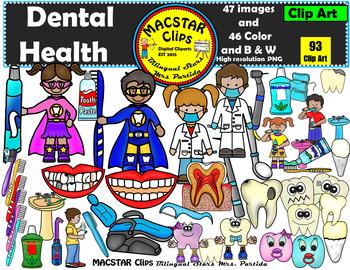 """Dental Health Clip Art BUNDLE """"MACSTAR Clips"""" Bilingual Stars Mrs. Partida"""