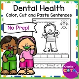 Dental Health Color Cut and Paste Sentence Writing Worksheets