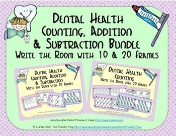 Dental Health Count, Add & Subtract Bundle with 10 & 20 Frames {Subitizing}