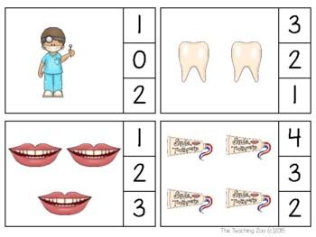 Dental Health Count & Clip 1- 30 Task Cards