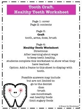 Dental Health Craft: Tooth and Healthy Teeth Worksheet