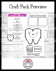 Dental Health Craft & Writing Pack: Tooth, Tooth Fairy, Dentists, Germ Bug