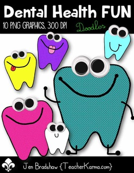 Dental Health FUN Clip Art ~ Tooth ~ Happy Teeth Graphics FREEBIE
