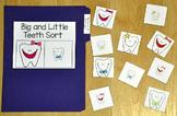 Dental Health File Folder Game:  Big and Little Teeth Sort
