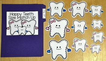Dental Health File Folder Game:  Happy Teeth Size Match