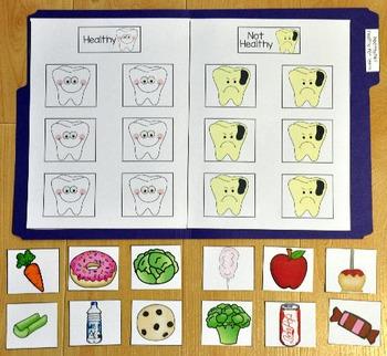 Dental Health File Folder Game:  Healthy/Unhealthy Foods For Teeth Sort