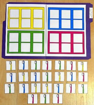 Dental Health File Folder Game:  Toothbrushes Color Sort 1