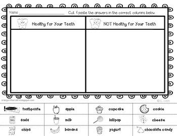 Dental Health Foldable Pocket Sort & Printable Activities