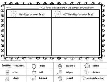 Dental Health Foldable Pocket Sort & Printable Activities