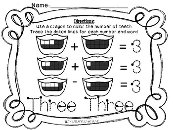 Dental Health Math Sheets with Smile 10 Frames:  Numbers 0-10 Freebie