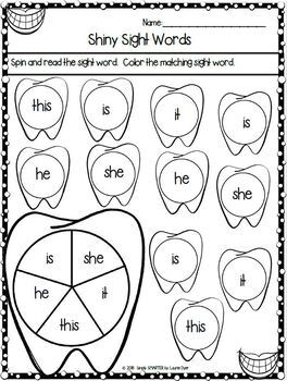 Dental Health Themed Kindergarten Math and Literacy Worksheets and Activities