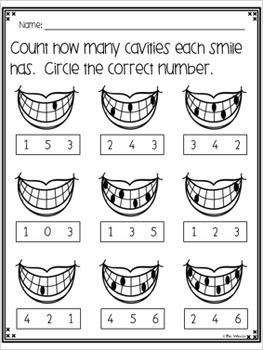 Dental Health Math and Literacy Activities Mini Pack