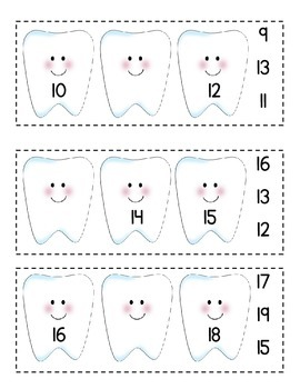 Dental Health Missing Number Clip Cards