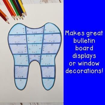 ADDITION Dental Health Activities or FUN Teeth Worksheet Alternatives