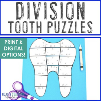 DIVISION Math Teeth Puzzles for Dental Health Worksheet Alternatives or Centers