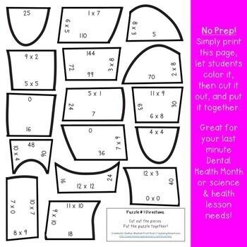 Dental health activities dental health month multiplication math dental health activities dental health month multiplication math teeth puzzles ccuart Gallery