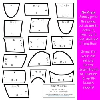 SUBTRACTION Math Teeth Puzzles | Dental Health Activities, Games, or Centers
