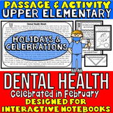 Dental Health Month: Reading Passage and Questions: Interactive Notebook