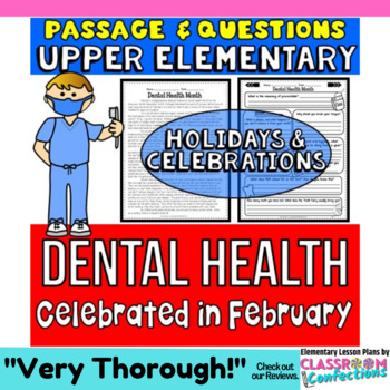 Dental Health Month: Passage and Questions: Reading Comprehension Activity