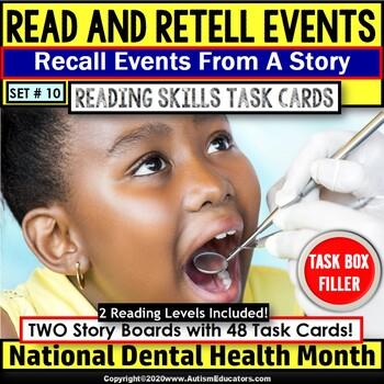 """Dental Health Month READING COMPREHENSION Task Cards """"Task Box Filler"""" Set #10"""