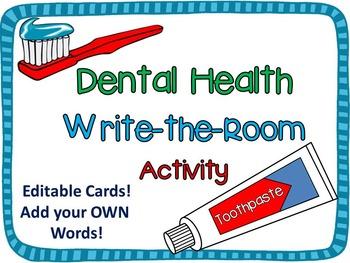 Dental Health Month Write-the-Room Activity {Editable Cards}